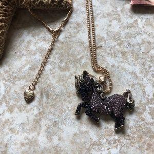 [NWOT] Betsey Johnson Purple Pony Necklace